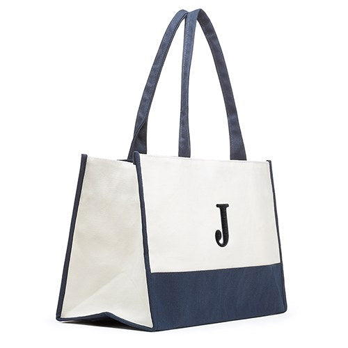 Mila Initial Tote Bag - Navy - Premier Home & Gifts