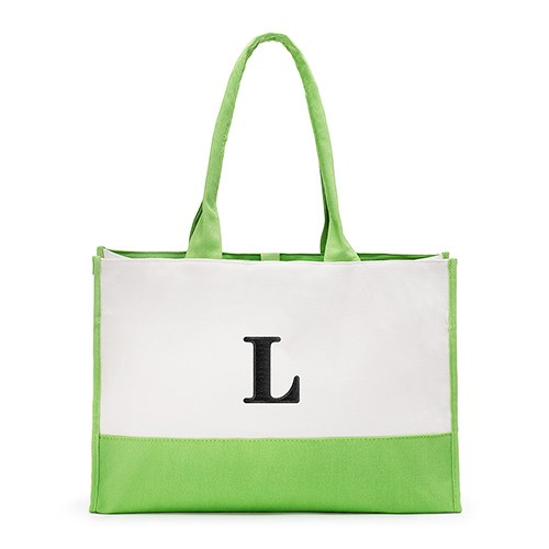 Mila Initial Tote Bag - Green - Premier Home & Gifts