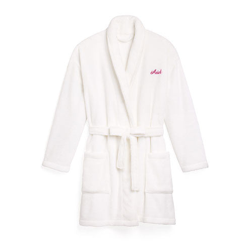 Fluffy Fleece White Robe - Personalized