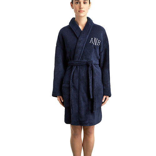Fluffly Fleece Navy Robe - Personalized Gifts for Her