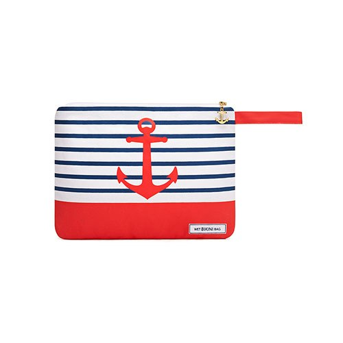 Bikini Travel Bag - Red Anchor - Wet Bikini Bags