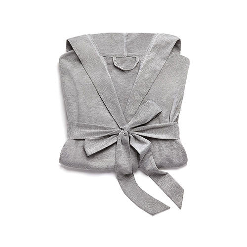 Hooded Lounge Robe - Gray and White