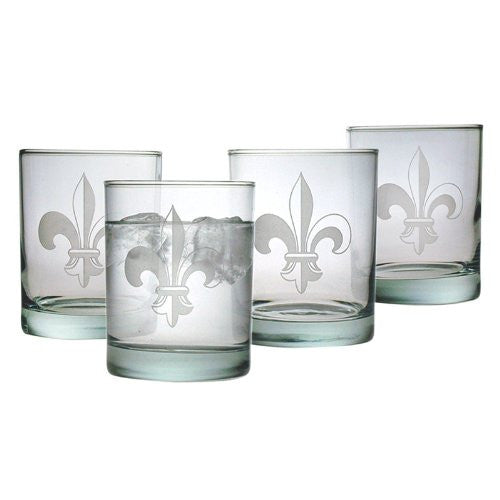 Fleur de Lis Double Old Fashioned Glasses ~ Set of 4
