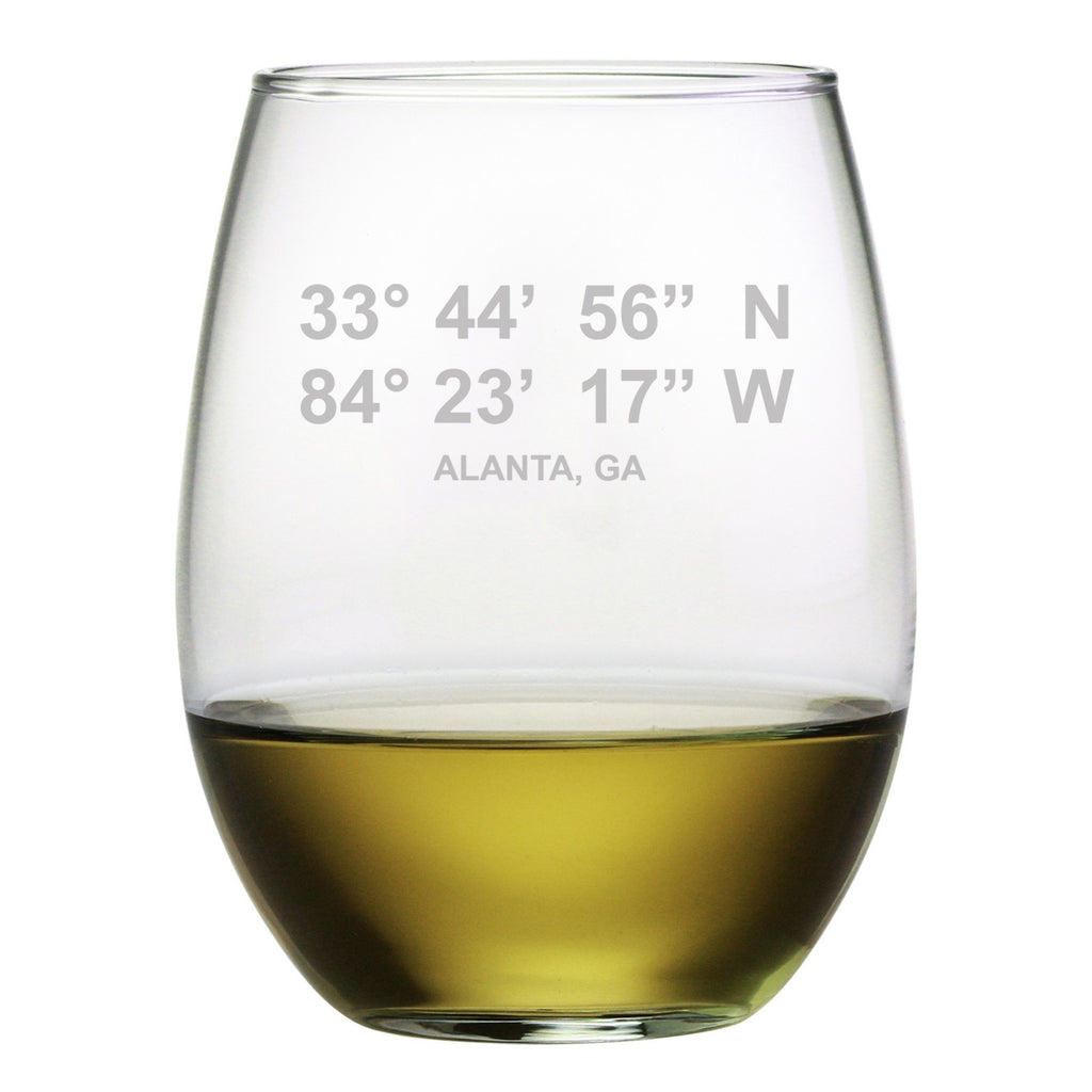 Latitude Longitude Stemless Wine Glasses ~ Set of 4