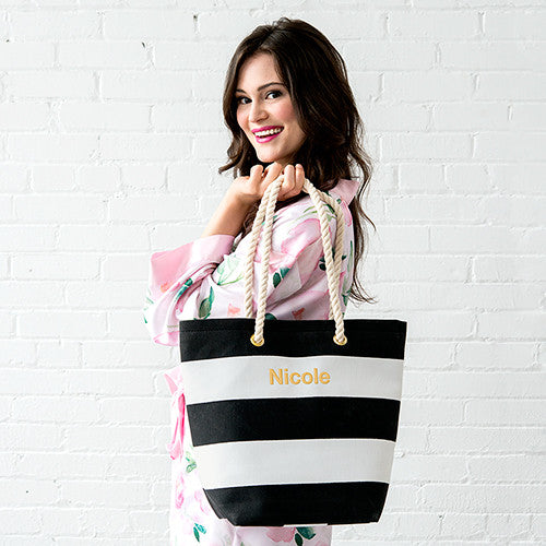 Capri Striped Tote Bag - Black - Premier Home & Gifts