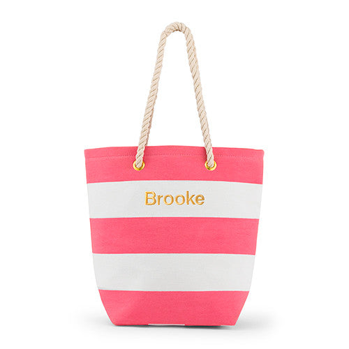 Capri Striped Tote Bag - Pink - Premier Home & Gifts
