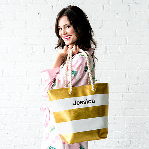 Capri Striped Tote Bag - Metallic Gold - Premier Home & Gifts