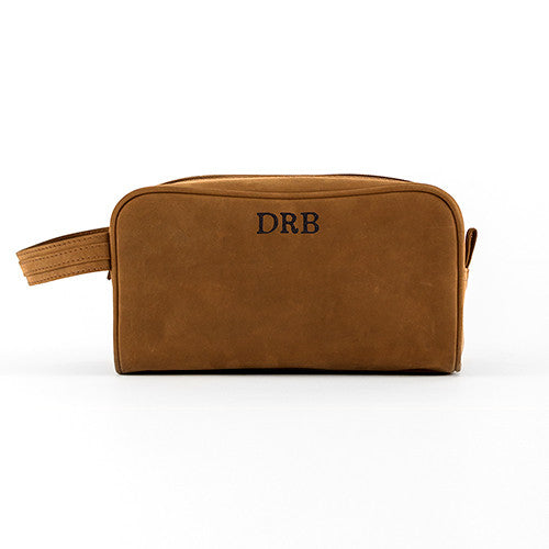 Tanned Genuine Leather Travel Toiletry Bag - Personalized | Premier Home & Gifts