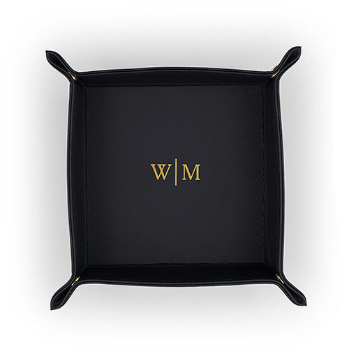 Monogram Vegan Leather Tray - 3 Colors - Premier Home & Gifts