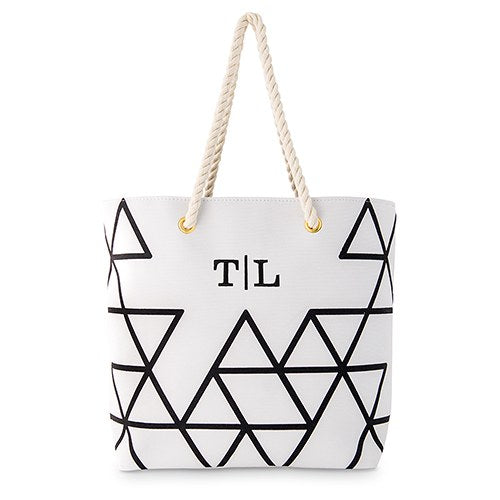 Geometric Print Tote Bag - Personalized