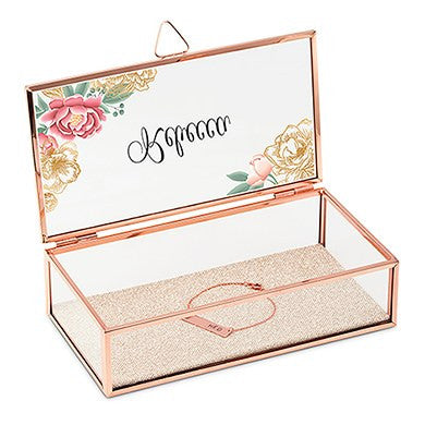 Floral Rose Gold Personalized Jewelry Box
