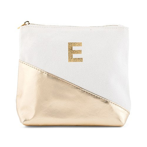 Metallic Gold Cosmetic Bag - Personalized Makeup Bag