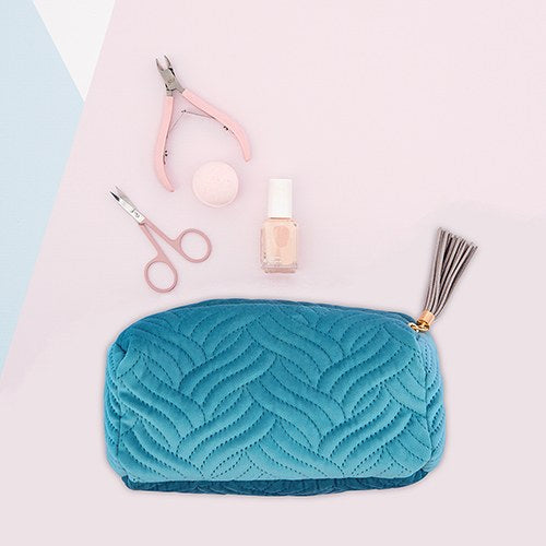 Quilted Velvet Cosmetic Bag - Personalized Makeup Bags