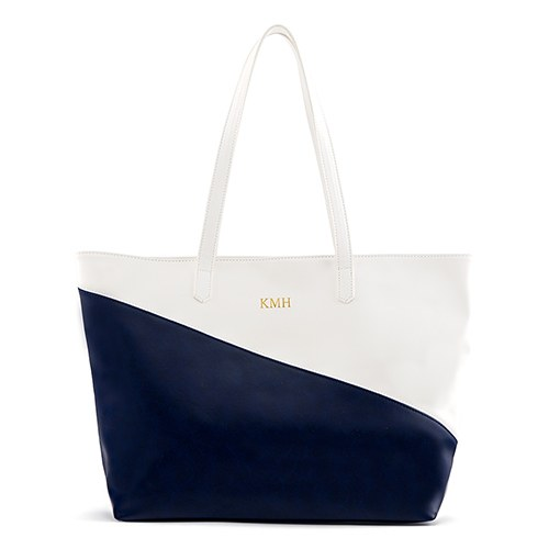 Curacao Color Block Tote - Navy & White - Personalized Tote Bags