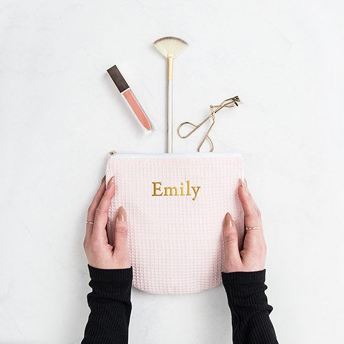 Blush Cotton Waffle Cosmetic Bag - Personalized Makeup Bags
