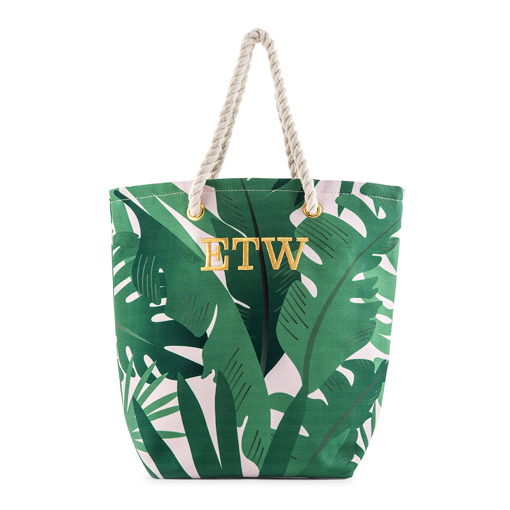tropical leaves tote bag personalized