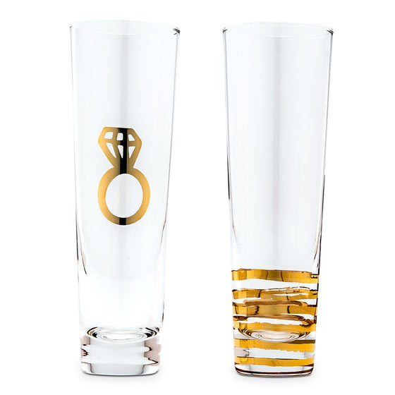 Champagne Flutes - Engagement Set Metallic Gold