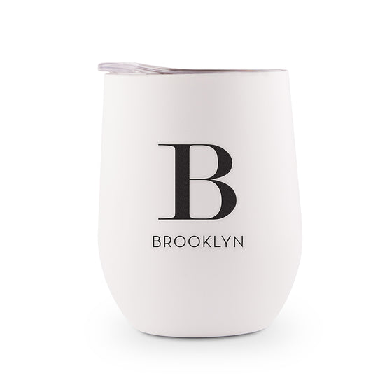 Stainless Steel Wine Tumbler - Initial and Name