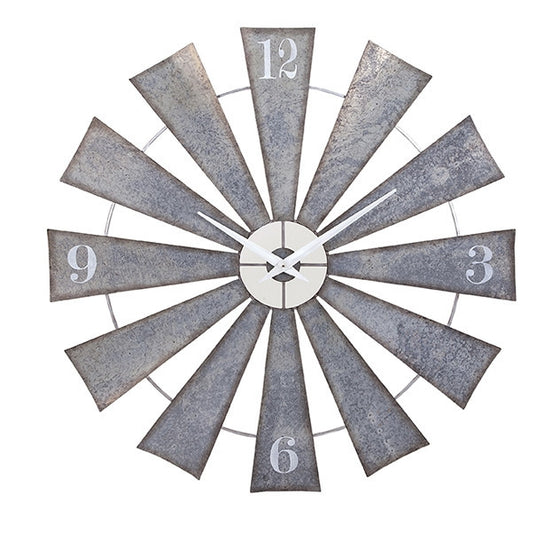 Waco Windmill Galvanized Wall Clock