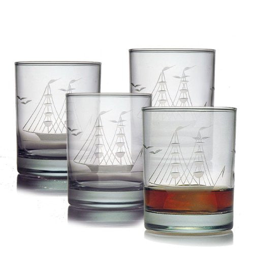 Clipper Ship Double Old Fashioned Glasses ~ Set of 4