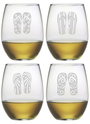 Flip Flop Stemless Wine Glasses ~ Set of 4