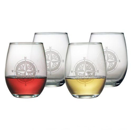 Compass ~ Stemless Wine Glasses ~ Set of 4