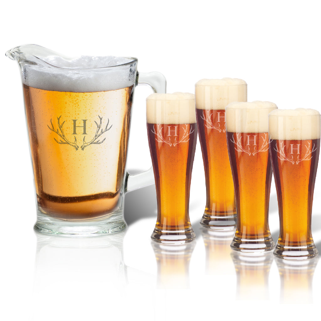 Antler Initial Beer Glasses and Pitcher Gift Set - Premier Home & Gifts
