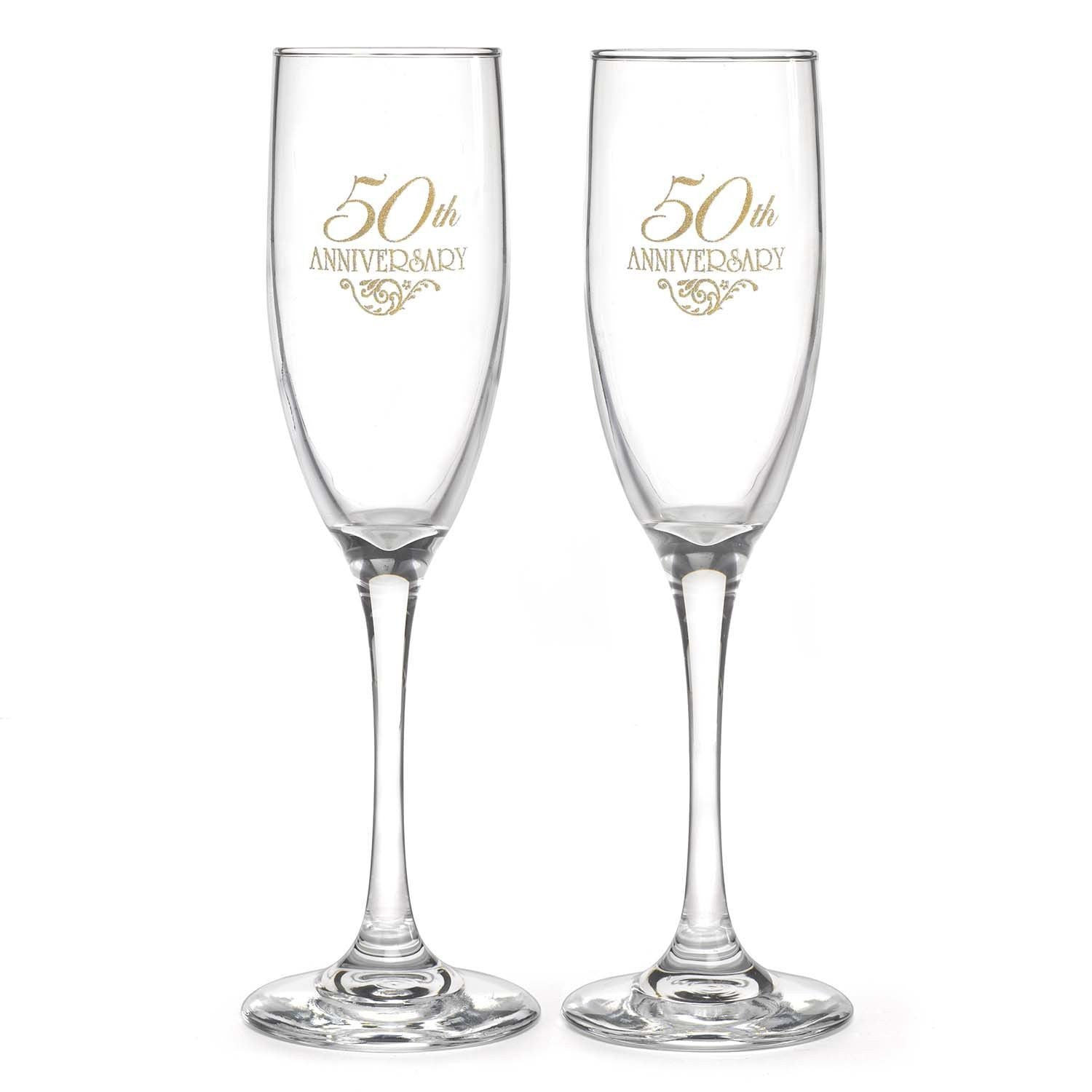 50th wedding anniversary champagne flutes. Black Bedroom Furniture Sets. Home Design Ideas