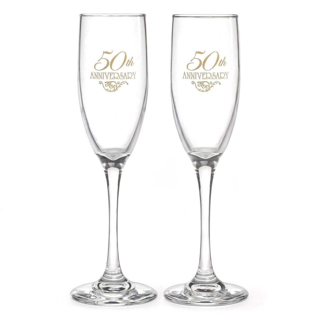 50th Wedding Anniversary Champagne Flutes