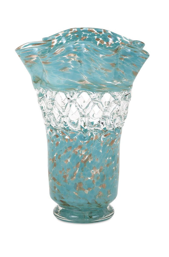 Aqua Web Glass Vase - Spring Decor