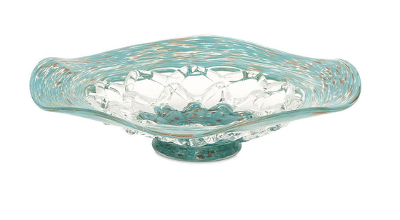 Aqua Web Glass Bowl - Green Decorative Home Decor Bowl