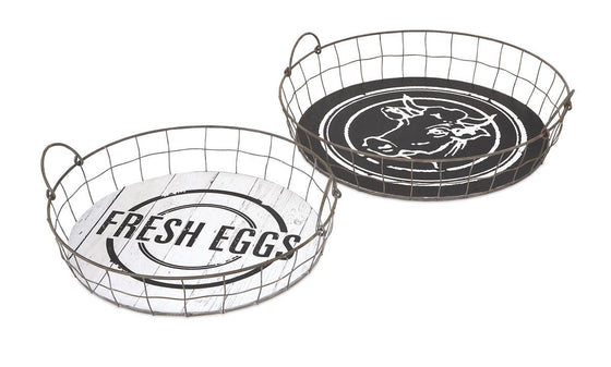 Farm Fresh Round Basket Trays - Set of 2 Country Cow and Eggs Wire Baskets