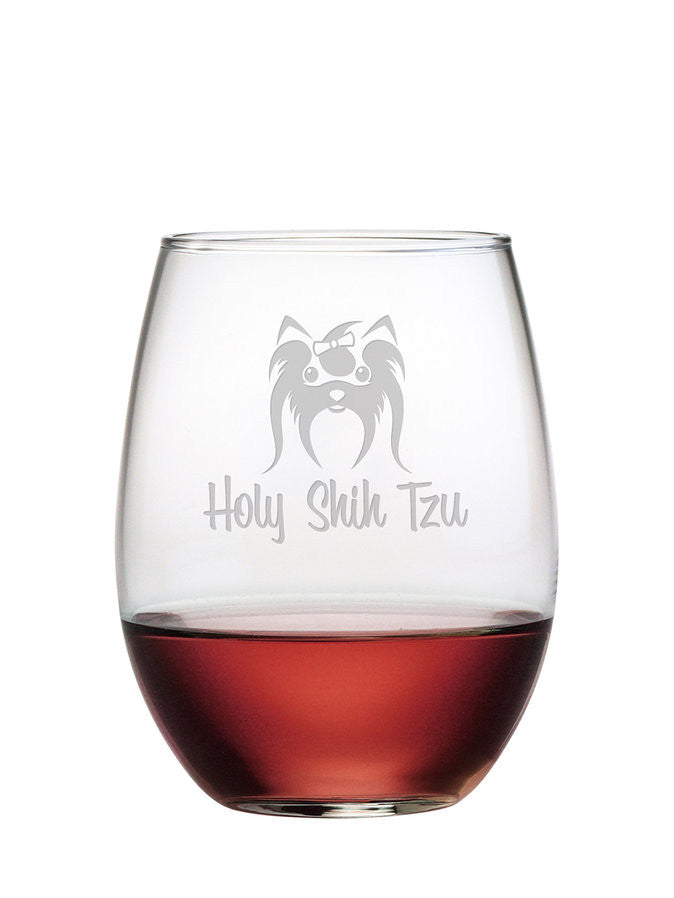 Holy Shih Tzu Stemless Wine Glasses ~ Set of 4