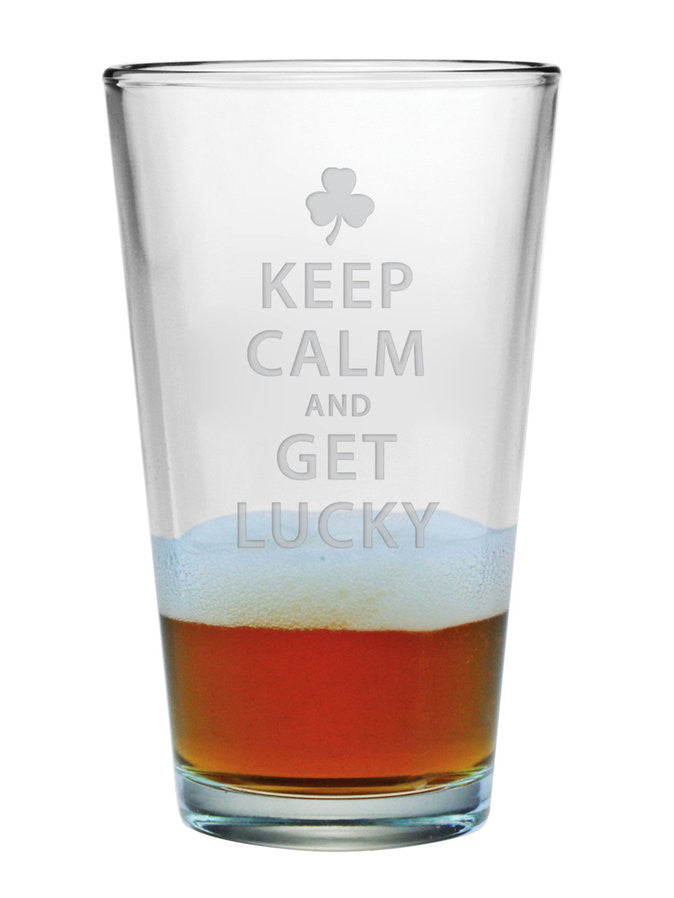 Keep Calm & Get Lucky Pint Glasses ~ Set of 4