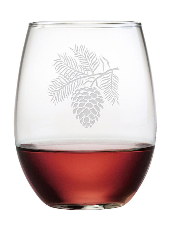 Pinecone Stemless Wine Glasses ~ Set of 4