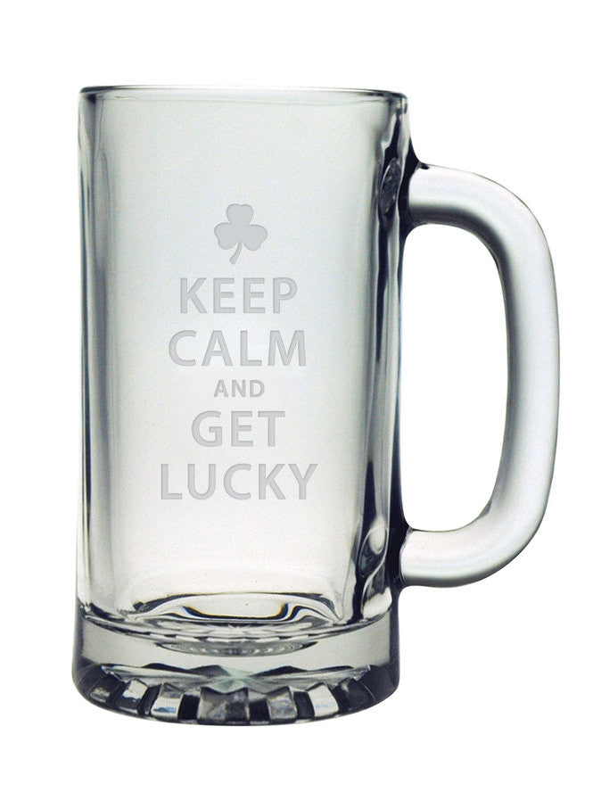 Keep Calm & Get Lucky Pub Beer Mugs ~ Set of 4