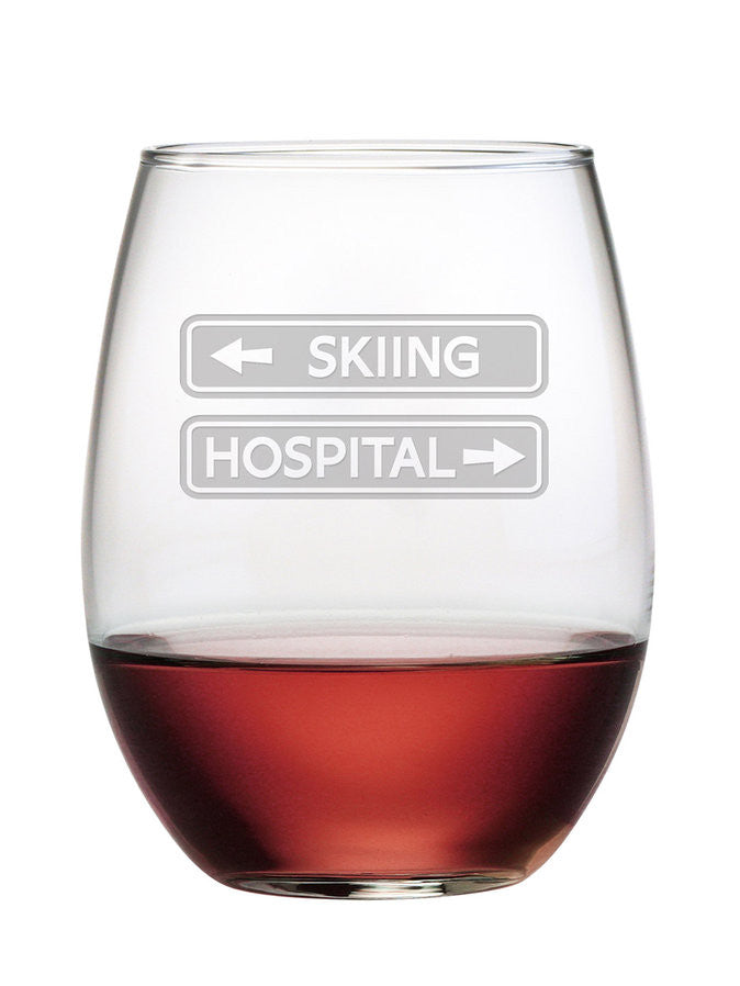 Skiing & Hospital Stemless Wine Glasses ~ Set of 4