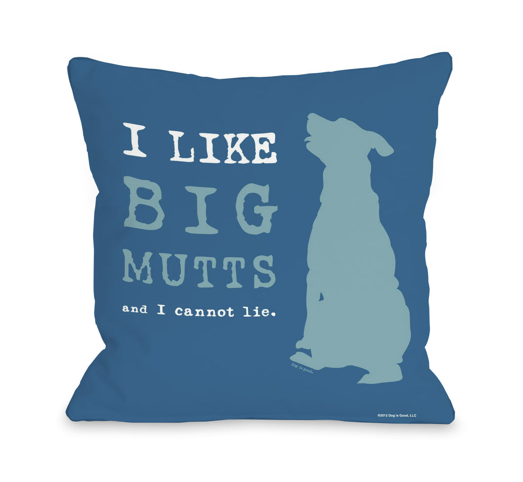 Big Mutts Throw Pillow - Blue