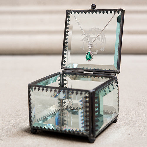 Glass and Metal Jewelry Box - Initial Design | Premier Home & Gifts