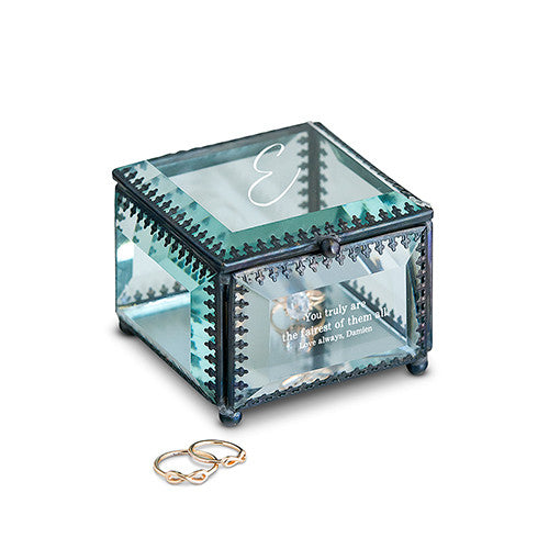 Glass And Metal Jewelry Box Personalized