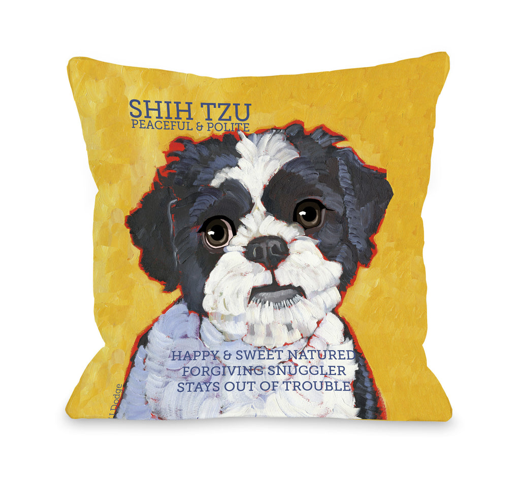 Shih Tzu Black Throw Pillow - Premier Home & Gifts