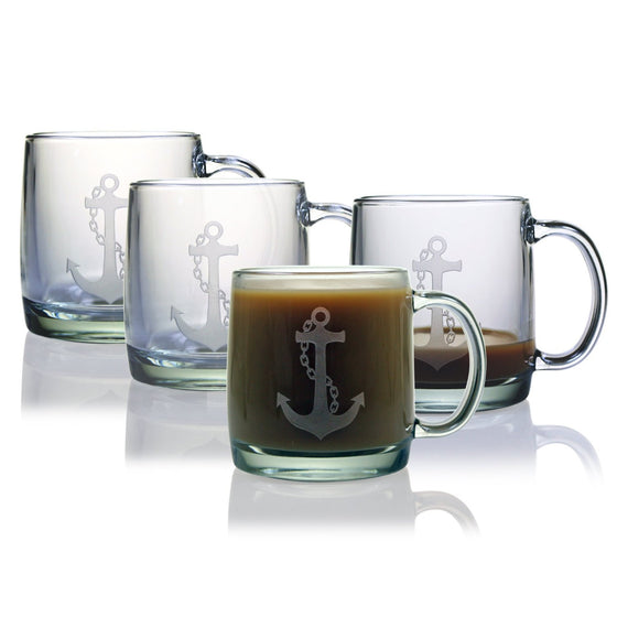 Anchor Coffee Mugs ~ Set of 4