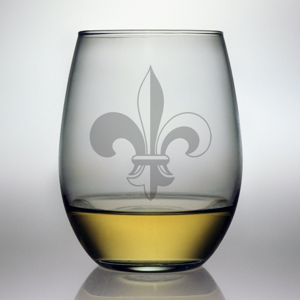 Fleur de Lis Design ~ Stemless Wine Glasses ~ Set of 4