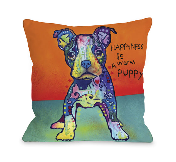 Happiness is a Warm Puppy Throw Pillow - Premier Home & Gifts