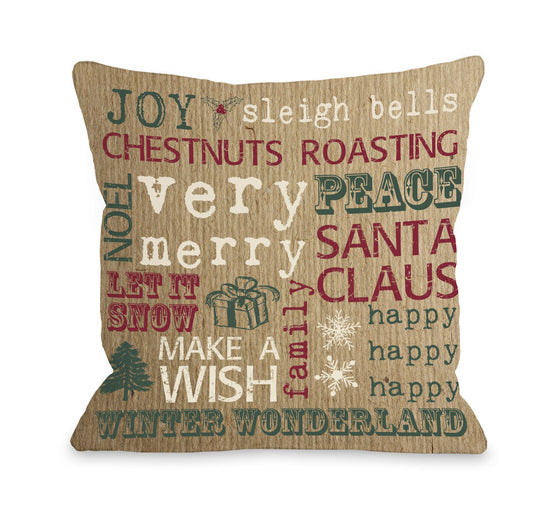 Christmas Paper Subway Art Throw Pillow - Christmas Decor - Premier Home & Gifts