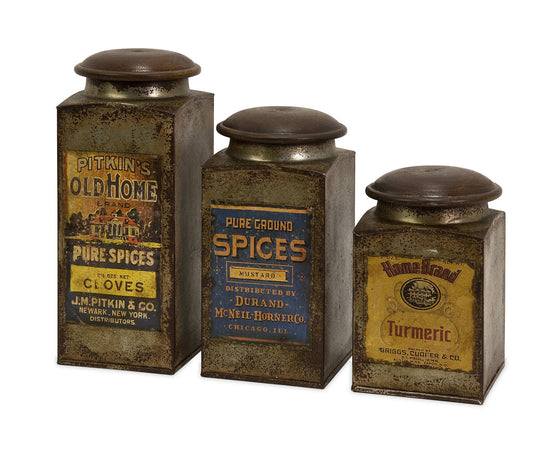 Vintage Label Canister Set - Premier Home & Gifts