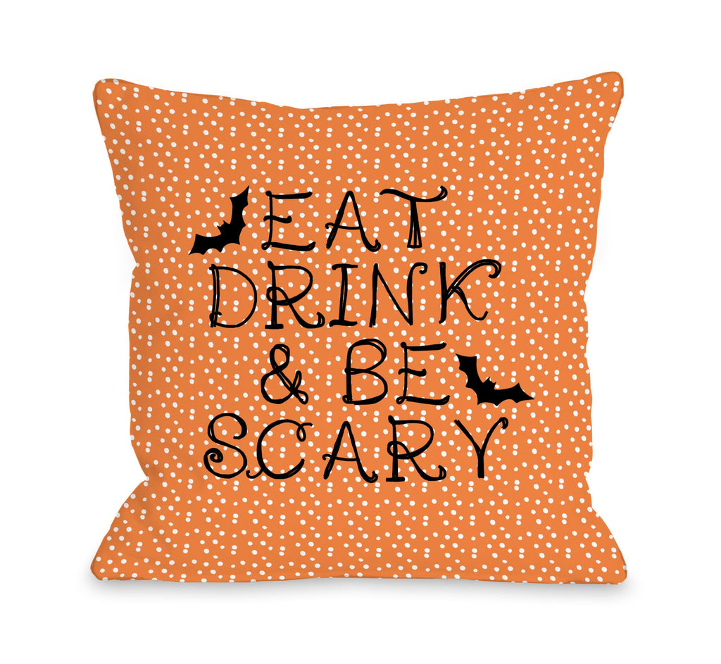 Eat, Drink, Be Scary Dots Throw Pillow - Halloween Decor - Premier Home & Gifts