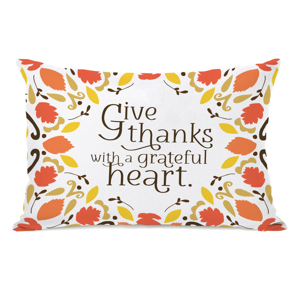 Give Thanks Grateful Heart Lumbar Throw Pillow - Fall Decor - Premier Home & Gifts
