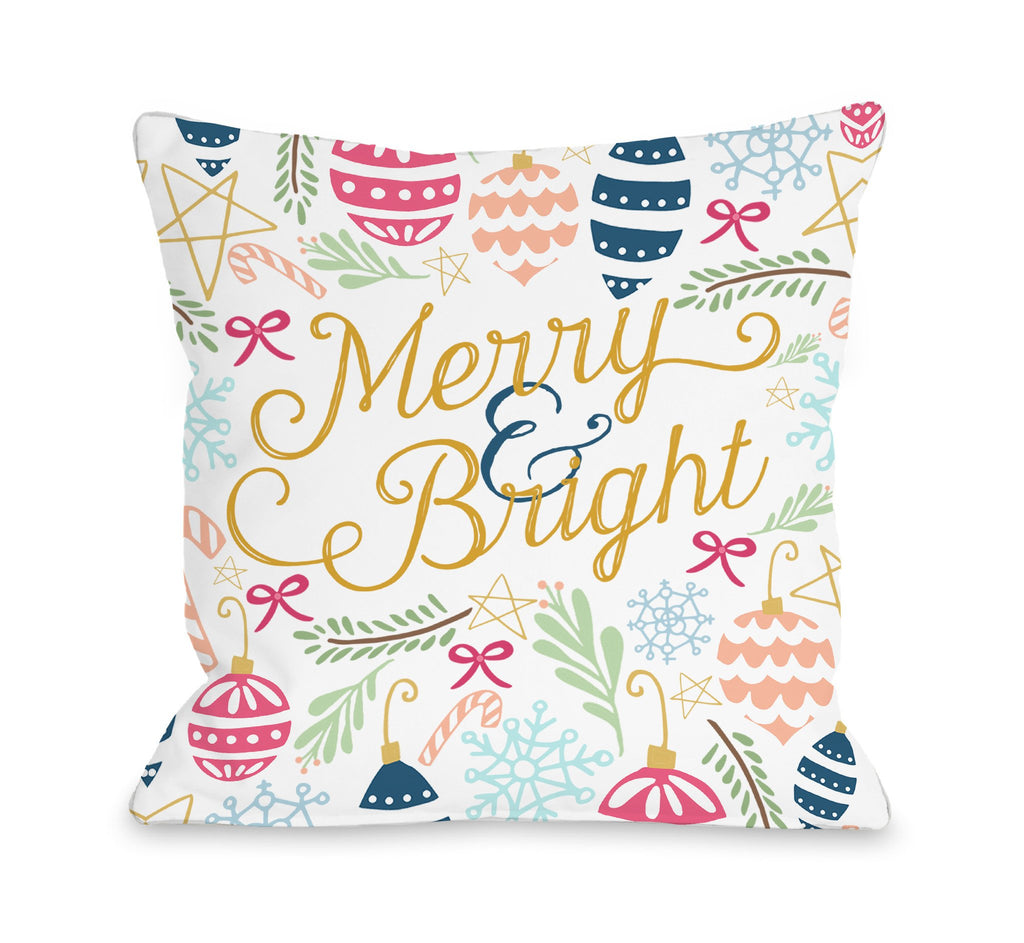 Merry and Bright Throw Pillow - Christmas Decor - Premier Home & Gifts