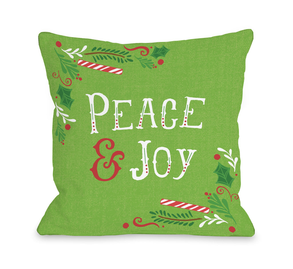 Peace and Joy Green Throw Pillow - Christmas Decor - Premier Home & Gifts